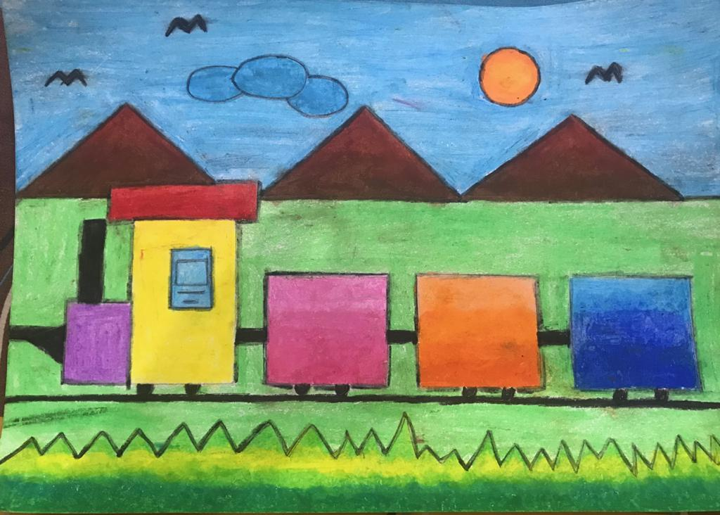Drawing Scenery using geometrical shapes for classes III - V